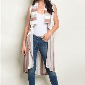 Sleeveless long sweater vest